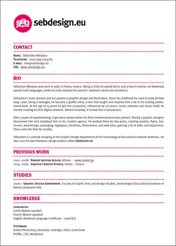 design resume example